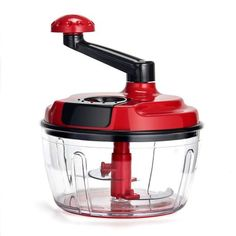 Momugs 8 Cup Red Food Processor, Manual Hand-powered Crank Large Chopper Mincer Blender Mixer Cutter with Clear Container for Baby Kids Toddler to Chop Meat Fruits Vegetables Nuts Herbs Onions Garlics Onion Chopper, Food Chopper, Choppers For Sale, Bulthaup Kitchen, Red Kitchen Accessories, Meat Fruit, Fruit Salad, Vegetable Chopper, Boffi