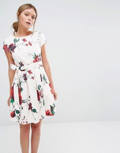 Closet+Floral+Print+Waist+Tie+Pleat+Dress+with+Cap+Sleeve