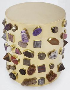 KELLY WEARSTLER | BEJEWELLED STOOL. Burnished brass stool adorned with semi precious stones