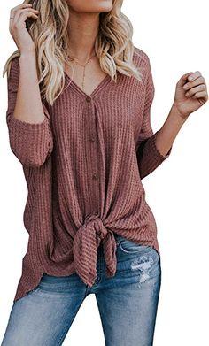 Bigyonger Womens V Neck Button Down Thermal Knit Henley Tops Casual Ribbed  Blouse Shirt at Amazon 01ca8eeca
