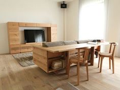Transformer Furniture: The Caramella Counter Sofa : TreeHugger Cool Furniture, Furniture Design, Built In Sofa, Mini Loft, Interior Architecture, Interior Design, Tiny Spaces, Home Projects, Living Spaces