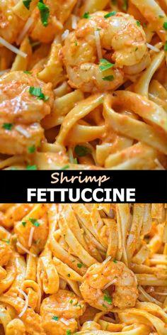 Fettuccine Recipes, Shrimp Fettuccine, Creamy Pasta Recipes, Spaghetti Recipes, Easy Shrimp Pasta Recipes, Delicious Pasta Recipes, Cooked Shrimp Recipes, Shrimp Scampi Pasta, Pasta Recipies