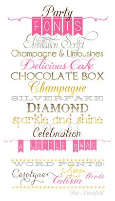☆  free party fonts - fancy, fun, and sparkly!