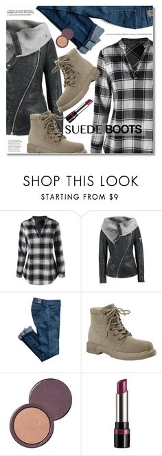 """suede boots"" by svijetlana ❤ liked on Polyvore featuring 100% Pure, Rimmel, leatherjacket, blackandwhite, suedeboots and plaidblouse"