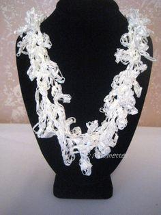 Crocheted Bridal Jewelry Crochet Necklace by MoomettesCrochet, $10.00