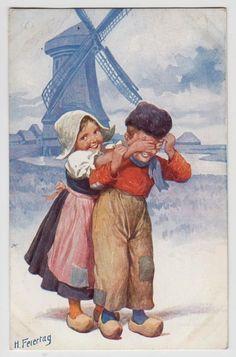 POSTCARD - artist signed Feiertag, Dutch children in clogs, windmill