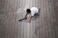 Walk from one side of the International Date Line to the other in just a few steps on the Time Zone Rug. Time Zone Map, Time Zones, Fabric Rug, Cushion Fabric, Carpet Design, Floor Design, Funky Rugs, International Date Line, Map Rug