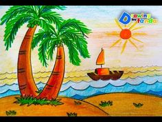 Pin by drawing ka fanda on scenery drawing for kids in 2019 Simple Nature Drawing, Easy Nature Drawings, Drawing Pictures For Kids, Scenery Drawing For Kids, Easy Drawings For Kids, Pictures To Draw, Painting For Kids, Art For Kids, Drawing Ideas