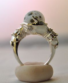 Celestial Oracle Ring | OmniaOddities. Sterling silver with full moon.