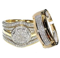 His and Her Bridal Trio Rings Set 4 Piece 10k Yellow Gold 0.68ct Diamonds 19mm Wide Halo Style