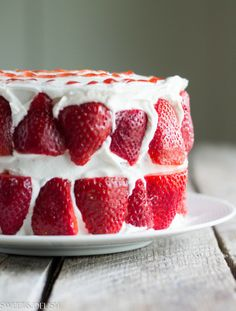 Strawberry Cake by Sweet & Delish-This isn't just an ordinary Strawberry Cake, it's a low fat Sponge Cake with Lite Cool Whip; so you can't even feel guilty about eating it