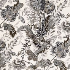 Sandoway Vine | 174545 in Charcoal | Schumacher Fabric |  Based on a 19th-century French Indienne print, and reinterpreted on a fine linen ground. The allover floral motifs are graphic yet delicate, and echo paisley's exotic patterning.