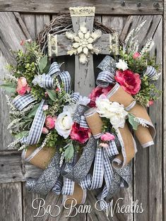 Cross Wreath, Cross Decor, Everyday Wreath, Spring Wreath, Spring Decor, Shabby Chic Wreath, Rustic Wreath On the old rugged cross........ Dainty flowers spread amongst the greenery there sits an old rugged cross. Rustic in details with jewels and scalloped metal lace in gray and off
