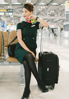 Kathy West, Fashion Poses, Flight Attendant, Short Skirts, Baby Strollers, Beautiful Women, Cosplay, Lady, Asia
