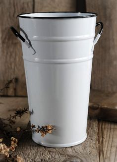great site - Flower Market Bucket 7 in. White Enameled  with handles $5  each/ 3 for $4.50 each