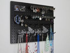 Jewelry Organizer - Necklace Hanger  - Earring Holder -- Black With Silver Vine Design via Etsy