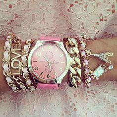 pink watch and bracelets Cute Jewelry, Jewelry Box, Jewelery, Jewelry Watches, Jewelry Accessories, Fashion Accessories, Jewelry Bracelets, Fashion Jewelry, Pink Watch