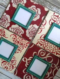 Red with pops of peacock 5x5 photo wall grouping. Perfect for back and white photos. Will be added soon! Deltagirlframes.etsy.com Mirror Crafts, Frame Crafts, Diy Craft Projects, Diy Crafts, Wooden Painting, Distressed Frames, Picture Frame Decor, Dollar Tree Decor, Wood Framed Mirror