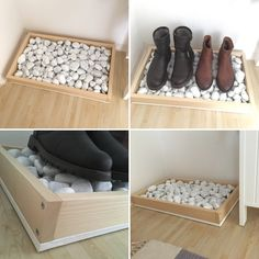 DIY shoe rack made of wood and stones by Silke Giesen Si - Balkon Interieur - Balcony Furniture Design Diy Shoe Rack, Shoe Storage, Diy Rack, Shoe Racks, Shoe Shelf Diy, Boot Tray, Made Of Wood, Wooden Diy, Wooden Shoe