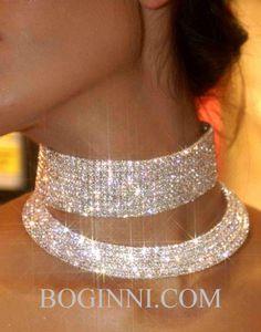 (UPPER) CRYSTAL DIAMONTE WEDDING PROM CHOKER NECKLACE