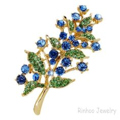 Hotsale Alloy Rhinestones Brooches Ligth Blue Color Gold Plating Size 40*70mm Packing OPP bag with Card Free Flower Brooches Shipping W22980E04