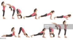 Step by step instructions to Sun Salutation. Pretty brunette woman doing yoga. Isolated. Panoramic image.