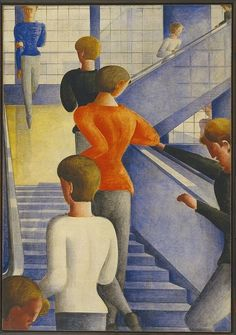 """""""Bauhaus Stairway"""" 1932 Oskar Schlemmer, oil on canvas, 63 x Museum of Modern Art, New York City, Gift of Philip Johnson Design Bauhaus, Bauhaus Art, Bauhaus Style, Bauhaus Painting, Walter Gropius, Albertina Wien, Art Nouveau, Art Gallery, Philip Johnson"""