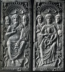 "Christ Enthroned between Saint Peter and Saint Paul and Virgin Enthroned between Angels; c. Middle 6th century; Ivory diptych; Height approx. 12""; In the first, Christ holds the New Testament. In the second, He holds a scroll, indicating His Nativity as the fulfillment of  the Old Testament."