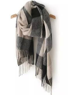 Black Beige Plaid Tassel Scarves -SheIn(Sheinside) Mobile Site