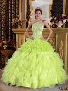 Yellow Green One Shoulder Satin and Organza Beading Quinceanera Dress