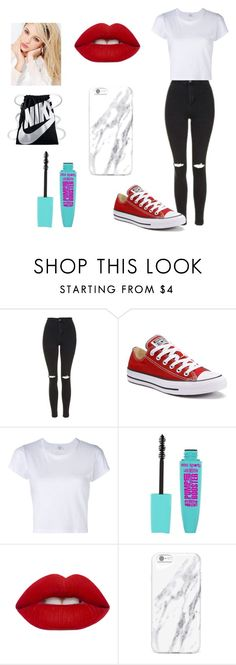 """""""Bored"""" by tydejear ❤ liked on Polyvore featuring Topshop, Converse, Lime Crime, Silvana and NIKE"""