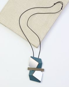 Teal and Silver Mixed Media Necklace by Sylca