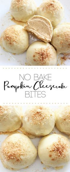 No Bake Pumpkin Cheesecake Bites- pumpkin cheesecake bites enrobed in white chocolate and topped with crushed honey graham crackers. A delicious fall dessert