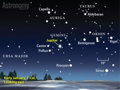 Look for Jupiter in the eastern sky during the early evening in January