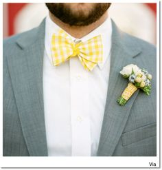 Yellow bow tie..really any check would be sooo cute!