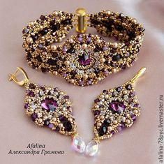 """Купить Комплект """"Признание в любви """" - фиолетовый, золотой, серьги, серьги с кристаллами, серьги с подвесками"""