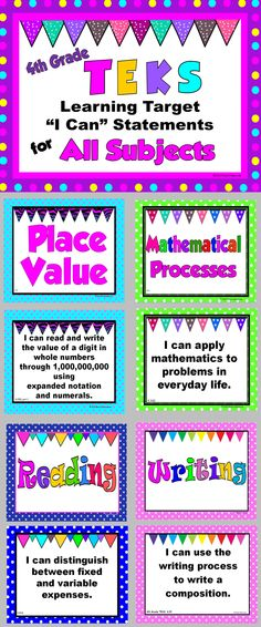 """Fourth Grade TEKS Learning Targets in the form of kid-friendly """"I Can"""" statements"""
