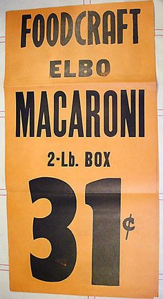 Vintage 50's Grocery Store Window Display Sign Poster - Foodcraft Macaroni