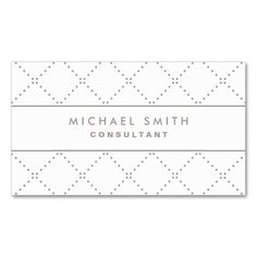 Professional Elegant Dot Pattern White Simple Double-Sided Standard Business Cards (Pack Of 100). Make your own business card with this great design. All you need is to add your info to this template. Click the image to try it out!