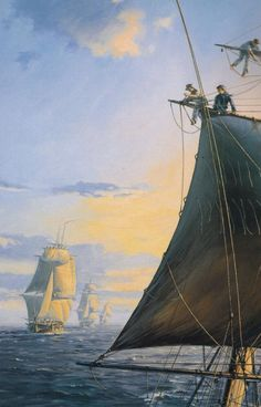 Sunset in the Indian Ocean, viewed from the upper masts of HMS Otter. The Otter, a ship-sloop, was a relatively small vessel with 18 guns. Beyond her are the larger frigates Boadicea, Sirius, and Nereide. All the ships are busy shortening sail and taking in their topgallants - a common precaution at nightfall if squalls were expected.