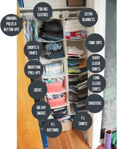 Hanging sweater shelves organize toddler clothes. #organization | crab+fish