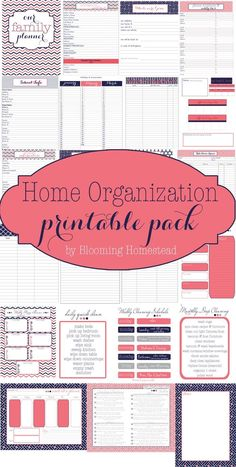 Awesome collection of Free printables to get you organized. Includes contacts, health info, meal planning, shopping lists, cleaning schedules and more! Also comes in 2 cute color/design schemes.: