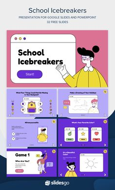Go back to school and begin your classes with this funny icebreaker Google Slides theme and PowerPoint template for your presentation! Web Design, Layout Design, School Icebreakers, Powerpoint Slide Designs, Powerpoint Themes, Powerpoint Design Templates, Online Templates, Design Presentation, Powerpoint Background Design