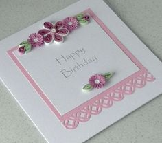 Quilled birthday card, paper quilling, handmade