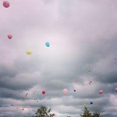 Balloons flying away