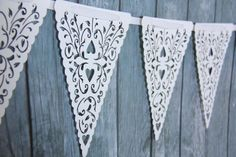 White Paper Lace Triangle Banner Pennant Garland Bunting Photo Prop Love Family Party reusable banner via Etsy