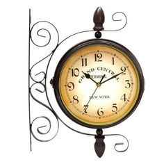 Outdoor Wall Clock Hanging Retro Double Sided Metal Mount Home Outside Decor