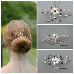 Bridal hair pin Silver gold fascinator Wedding hair piece Swarovski pearls Ivory white Flower  Bridesmaid gift accessory Hair vines Purple