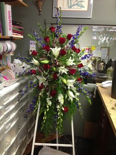 Red white and blue standing spray Funeral Floral Arrangements, Beautiful Flower Arrangements, Beautiful Flowers, Church Flowers, Funeral Flowers, Wedding Flowers, Remembrance Flowers, Memorial Flowers, Casket Flowers