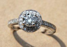 Unique Engagement Rings Halo Setting Handmade Weddings on Etsy 5